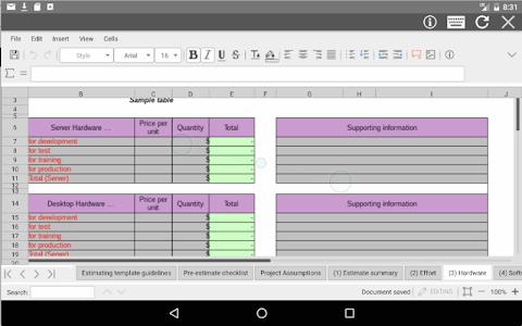 screenshot of AndroXLS editor for XLS sheets version 5.4.8