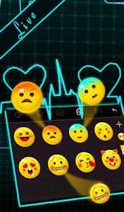 Download Live 3D Neon Blue Love Heart Keyboard Theme 6.9.12.2018 APK