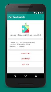 screenshot of Play Services Info version Varies with device
