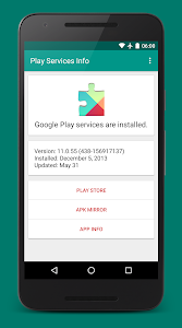 screenshot of Play Services Info version 0.8