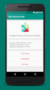 screenshot of Play Services Info version 0.3
