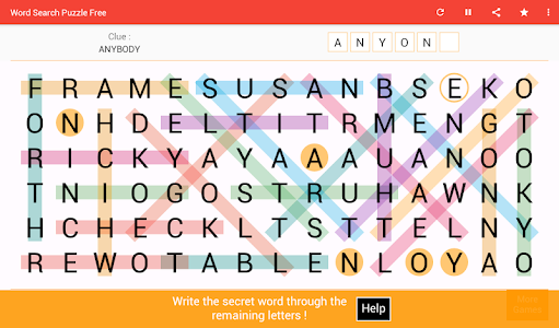 screenshot of Word Search version 5.4