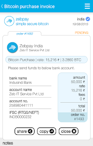 screenshot of Zebpay Bitcoin Wallet India version 1.0.72